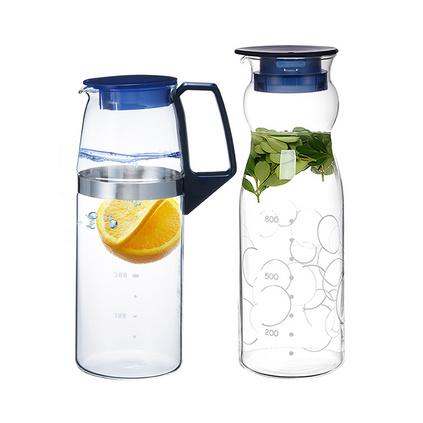 日本怡萬家iwaki耐熱玻璃水壺冷水壺防爆大容量涼水杯果汁壺組合定制