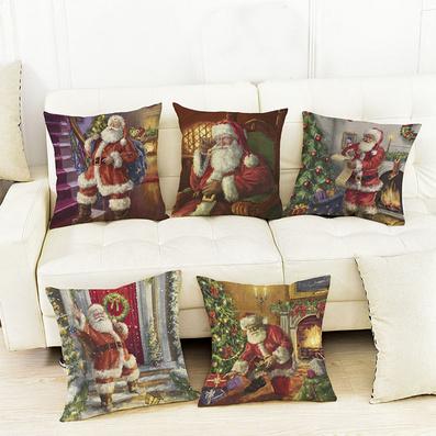 外貿熱銷油畫圣誕老人亞麻印花靠墊套家居裝飾抱枕定制