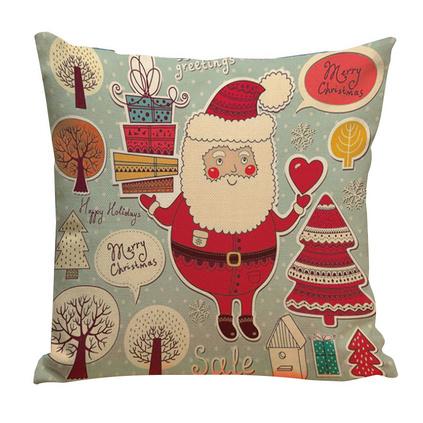 圣誕節禮品定制圣誕老人棉麻創意個性靠墊抱枕