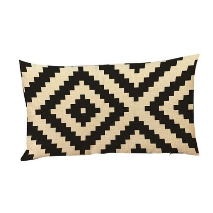 現代簡約歐式黑白幾何條紋棉麻亞麻長形腰枕辦公靠墊套定制
