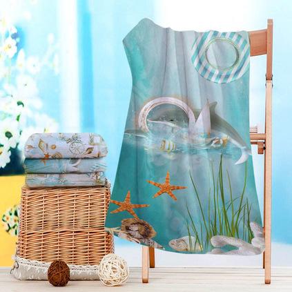 海洋風條紋印花超細纖維沙灘巾浴巾定制