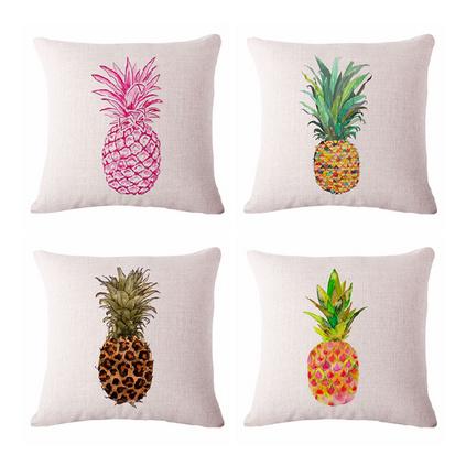 手绘菠萝棉麻抱枕四季亚麻靠垫套家居装饰澳门美高梅娱乐游戏