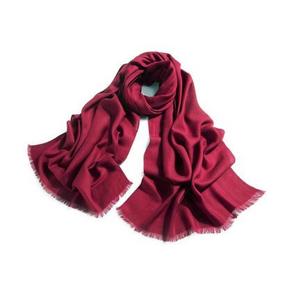 上海故事圍巾 女長款大紅色純色斜紋羊毛圍巾 秋冬季圍巾披肩兩用禮品定做