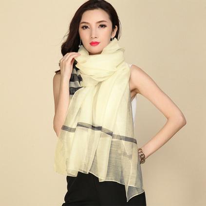 上海故事羊毛圍巾女士春秋冬季桑蠶絲真絲絲巾長款條紋兩用披肩禮品定做