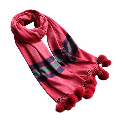 上海故事秋冬季韓版百搭仿羊絨圍巾女士毛球裝飾條紋披肩兩用禮品定制