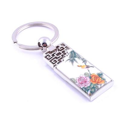 中國風青花瓷屏風金屬鑰匙扣陶瓷鑰匙扣定制
