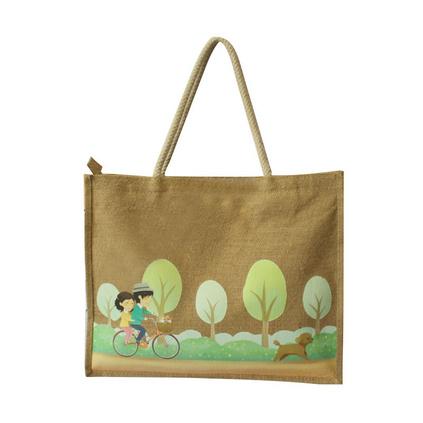 天然黃麻布手提環保時尚過膠熱轉印禮品廣告拉鏈購物袋定制