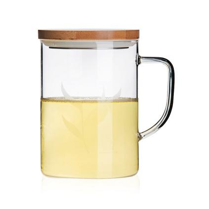 sohome 風尚竹木系個人杯 耐熱玻璃水杯透明玻璃辦公杯 500ml創意帶蓋玻璃杯定制