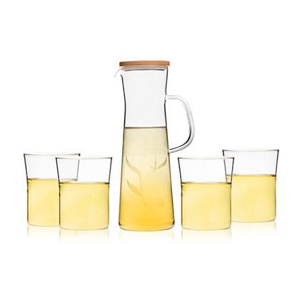 sohome 風尚竹木系水具五件套 耐熱玻璃冷熱涼水壺花果茶壺 一壺四杯套裝定制