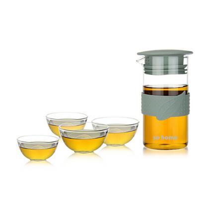 sohome 耐熱玻璃花草茶具花茶壺泡茶壺創意可愛泡茶杯 一壺四杯禮品套裝定制