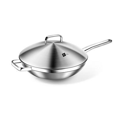 德國米技/miji 銀河系列 30CM不銹鋼中式炒鍋加厚復合單柄煎鍋定制