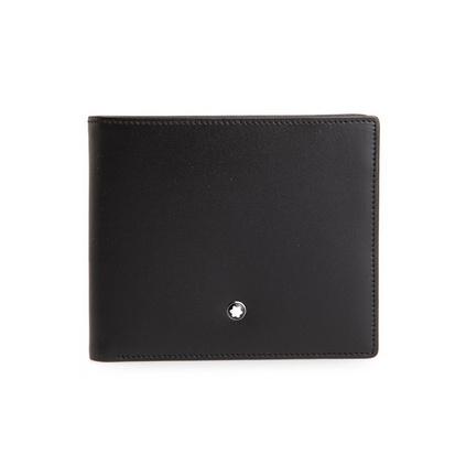 Montblanc万宝龙 7162 11片格皮夹配证件夹黑色真皮钱包钱夹定制