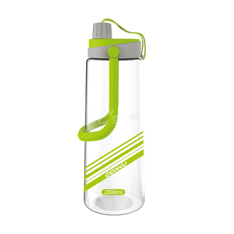 康酷大容量塑料水杯便攜戶外運動壺帶蓋2000ML太空杯定制