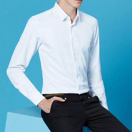 新款时尚职业衬衣长袖亚博体育app下载地址LOGO商务男式正装衬衫