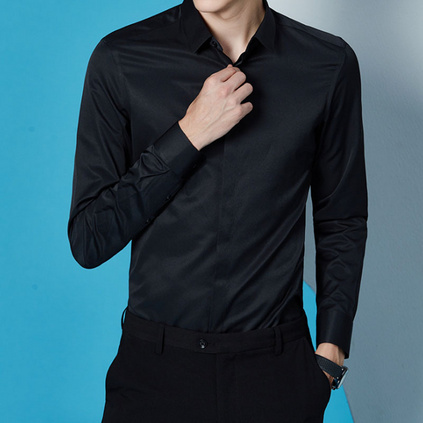 新款时尚职业衬衣长袖定制LOGO商务男式正装衬衫