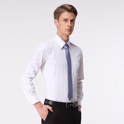 新款男式长袖棉衬衫青年商务男士修身职业装工作衬衣定制