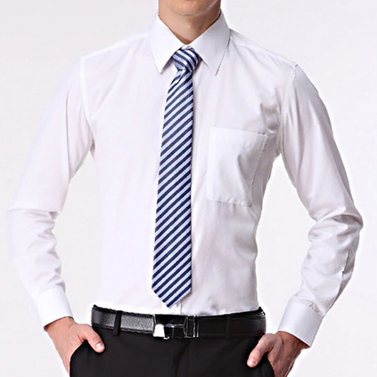 新款男式長袖棉襯衫青年商務男士修身職業裝工作襯衣定制