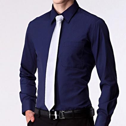 新款男式青年長袖襯衫商務修身純色立領免燙正裝襯衣定制