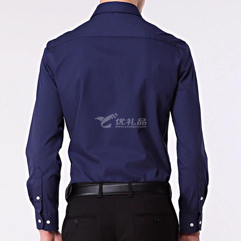 新款男式青年长袖衬衫商务修身纯色立领免烫正装衬衣定制