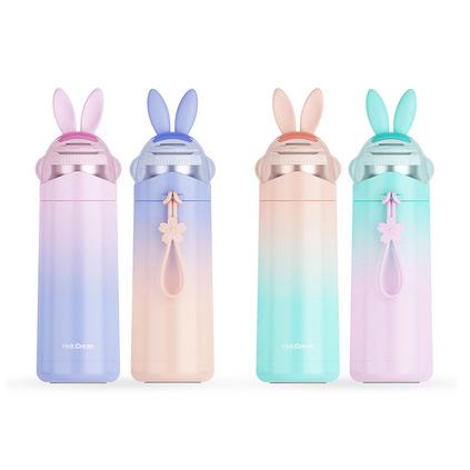 繽紛兔子保溫杯350ml容量可愛學生迷你便攜304不銹鋼保溫杯定制