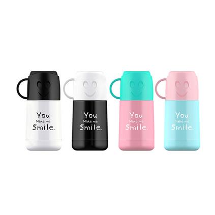 可愛笑臉210ml保溫杯學生便攜手提帶杯蓋水杯 smile迷你杯子定制