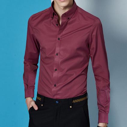 新款修身正裝尖領休閑長袖免燙條紋職業襯衣定制