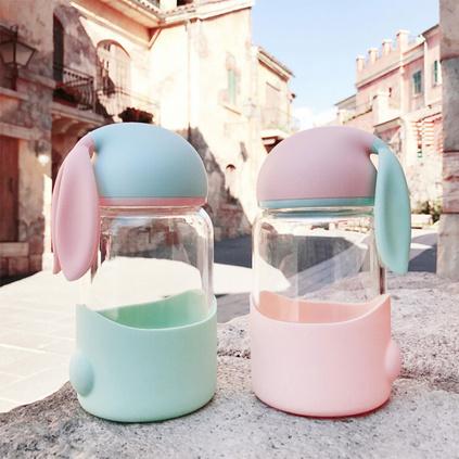 可愛兔子太空杯 防燙硅膠玻璃杯女 韓版便攜大肚杯學生340ml禮品杯子定制