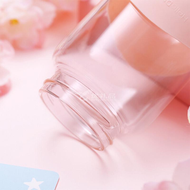 可爱兔子太空杯 防烫硅胶玻璃杯女 韩版便携大肚杯学生340ml礼品杯子定制