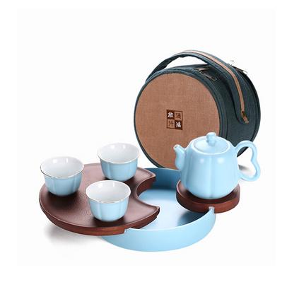 一壺三杯旅行茶具禮品套裝便攜陶瓷茶杯定制