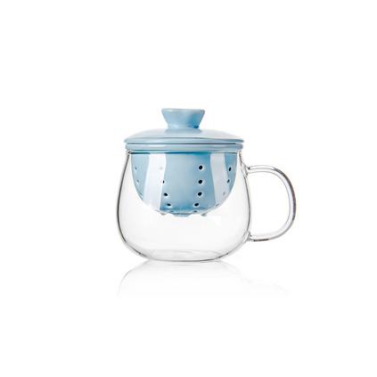 加厚耐熱玻璃杯三件式陶瓷濾膽花茶杯個性創意水杯定制
