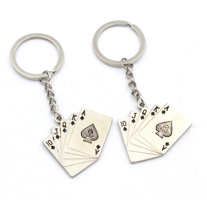 创意个性扑克牌钥匙扣定制汽车金属钥匙扣礼品