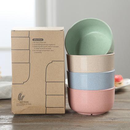 小麥秸稈米飯碗兒童碗小湯碗寶寶飯碗環保餐具四件套定制