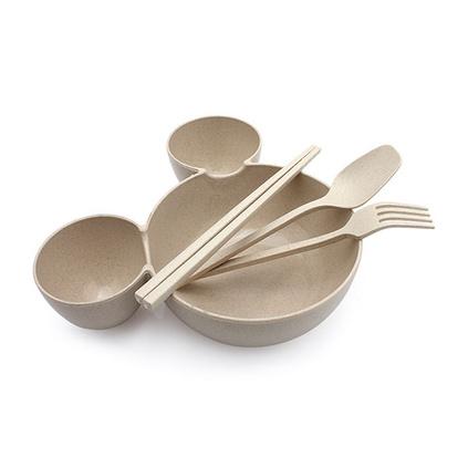 小麥秸稈餐具卡通米奇大頭造型兒童分格飯碗餐盤套裝水果叉勺筷子四件套裝定制
