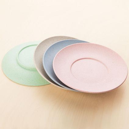 小麦秸秆餐具秸秆餐盘4件套圆形西餐盘定制