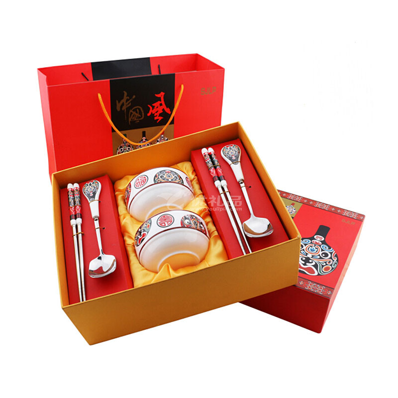 福?#30343;?#21916;中国风脸谱陶瓷碗餐具6件套 礼品餐具套装定制