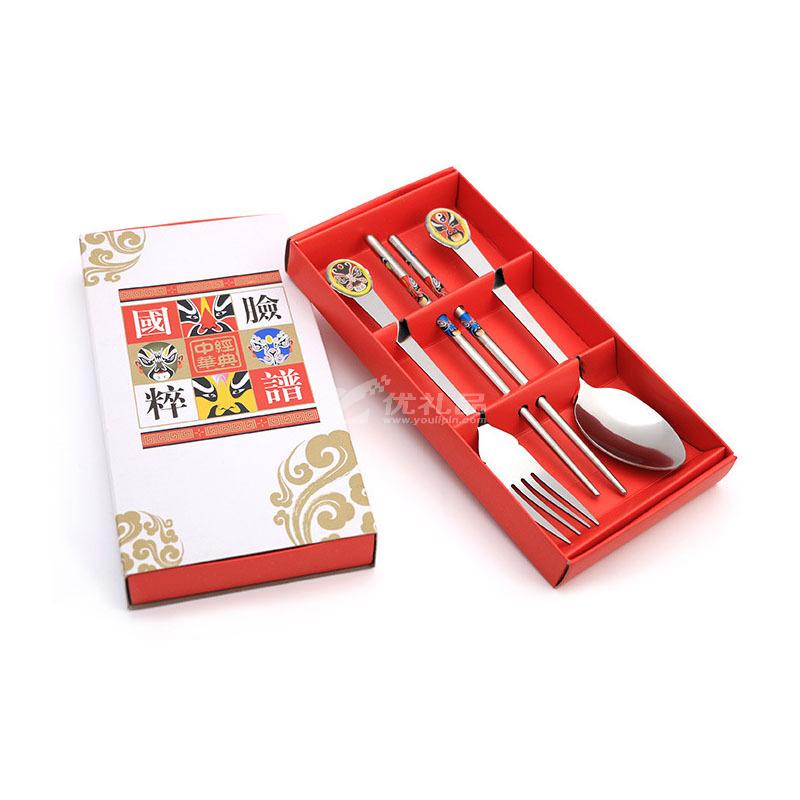 中国风脸谱便携餐具 创意叉勺筷礼盒餐具三件套定制