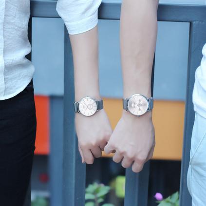 情侶手表一對價潮流時尚皮帶男女士手表歐美鋼帶簡約防水石英表定制