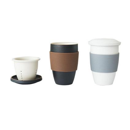 馬克杯帶過濾網帶蓋硅膠套創意簡約禮品陶瓷杯定制