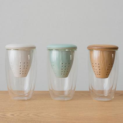 雙層玻璃杯帶過濾網大容量個性茶水分離保溫隔熱水杯定制