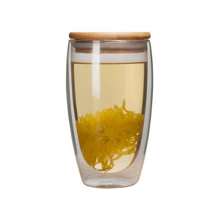 雙層玻璃杯帶竹蓋保溫隔熱透明450ml超大容量水杯定制