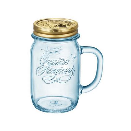 意大利進口415ml四季把手杯冰藍杯水杯果汁杯咖啡杯2件套定制