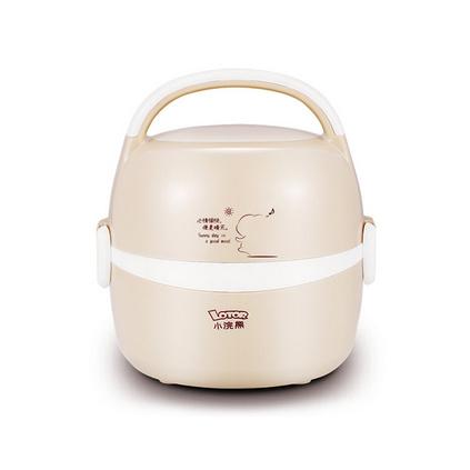 小浣熊電熱飯盒雙層不銹鋼內膽加熱飯盒熱飯器插電加熱飯盒蒸飯器定制