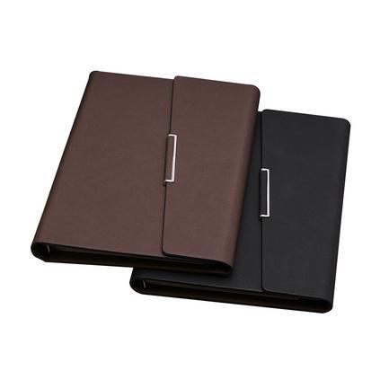 A5变色PU记事本商务办公笔记本油边三折金属扣活页日记本子定制
