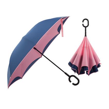 新款自動反向傘雙層免持式C型雨傘汽車專用可站立定制廣告傘