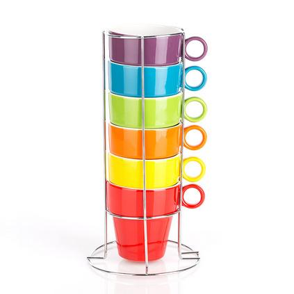 簡約創意水杯家用陶瓷日式牛奶咖啡疊杯6個套裝定制