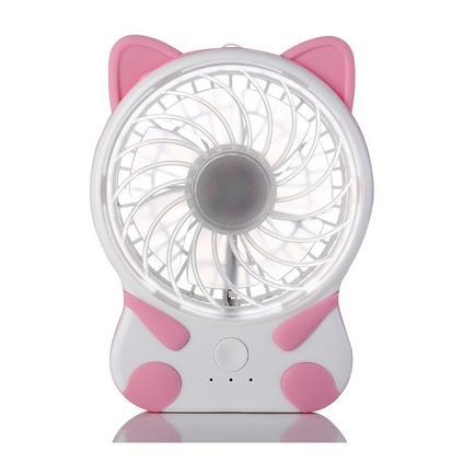 可愛貓咪便攜隨身風扇臺式硅膠底坐usb充電小風扇定制
