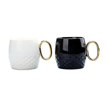 創意陶瓷杯咖啡杯黑白金手柄馬克杯定制