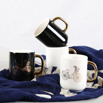 創意鍍金陶瓷馬克杯辦公室水杯情侶咖啡杯定制