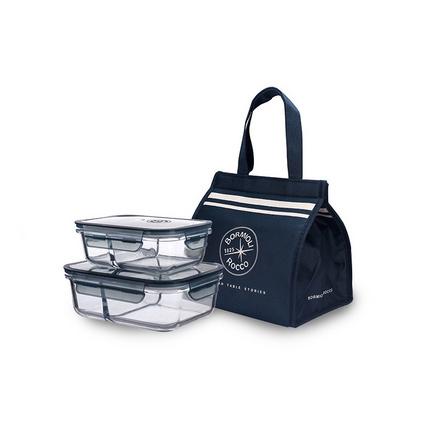 BORMIOLI ROCCO 波米歐利耐熱玻璃分隔飯盒保鮮盒兩只裝便當盒午餐飯盒定制