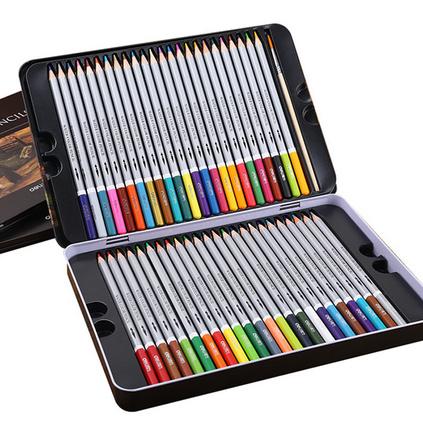 得力水溶?#22278;?#33394;铅笔24色铁盒?#21487;?#22635;色彩笔绘画笔定制